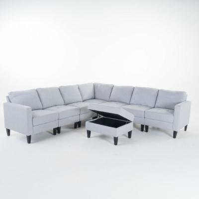 6-Piece Light Gray Polyester 4-Seater L-Shaped Sectional Sofa with Ottoman