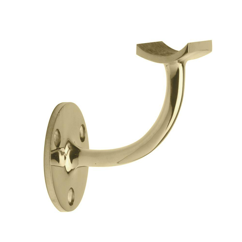 Polished Brass Standard Hand Rail Bracket for 2 in. Outside Diameter