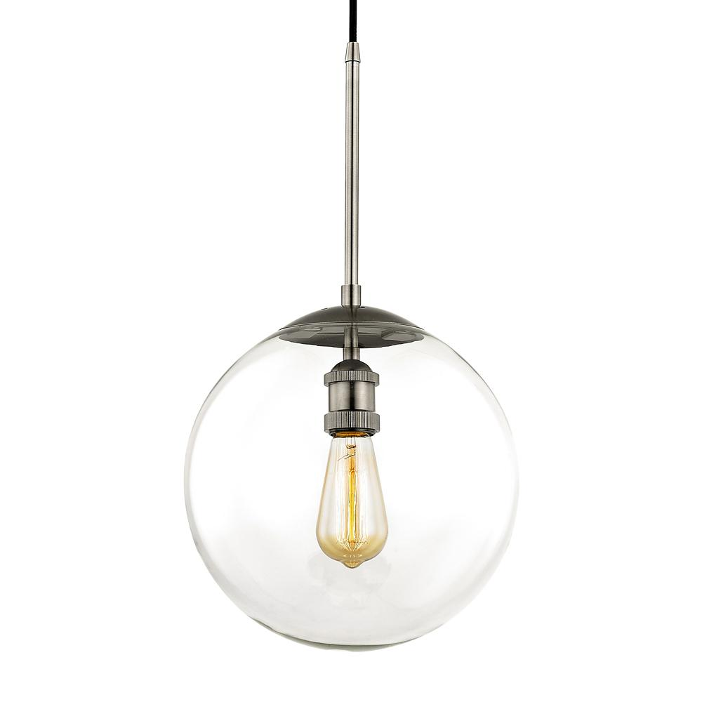 Fifth and Main Lighting Asheville 1-Light Historic Nickel Globe Pendant with Glass Shade