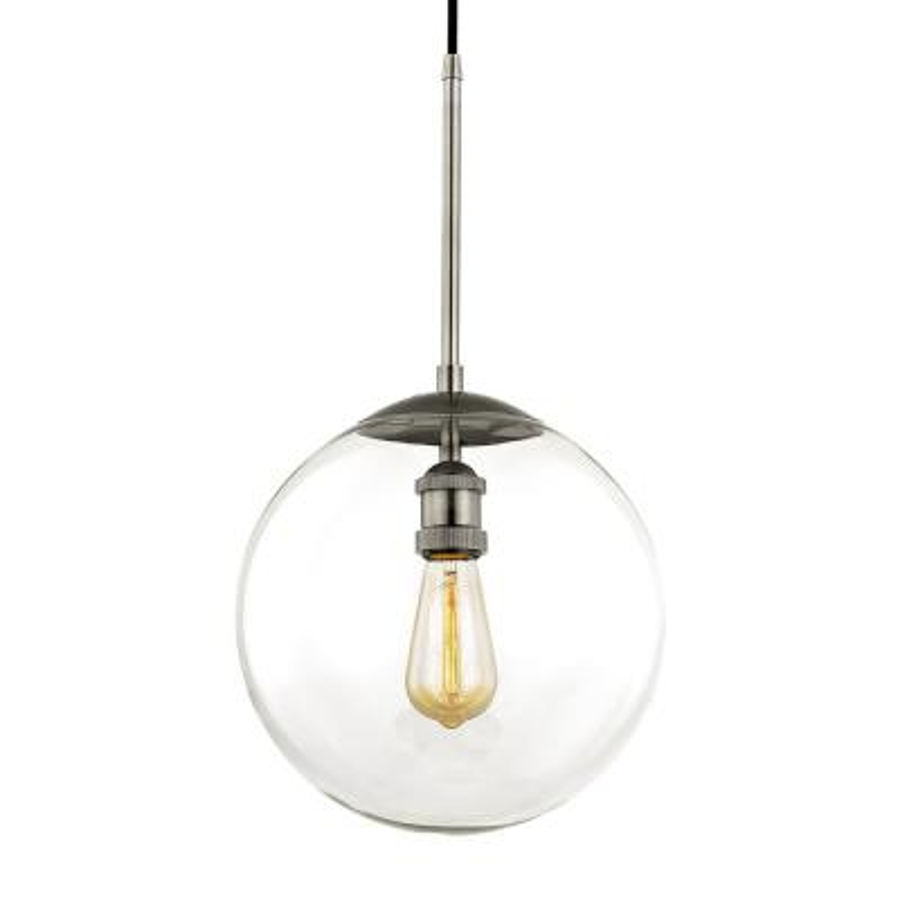 Asheville 1-Light Historic Nickel Globe Pendant with Glass Shade