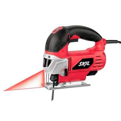6 Amp Corded Electric Orbital Jig Saw with Built-In Laser and 2 Blades