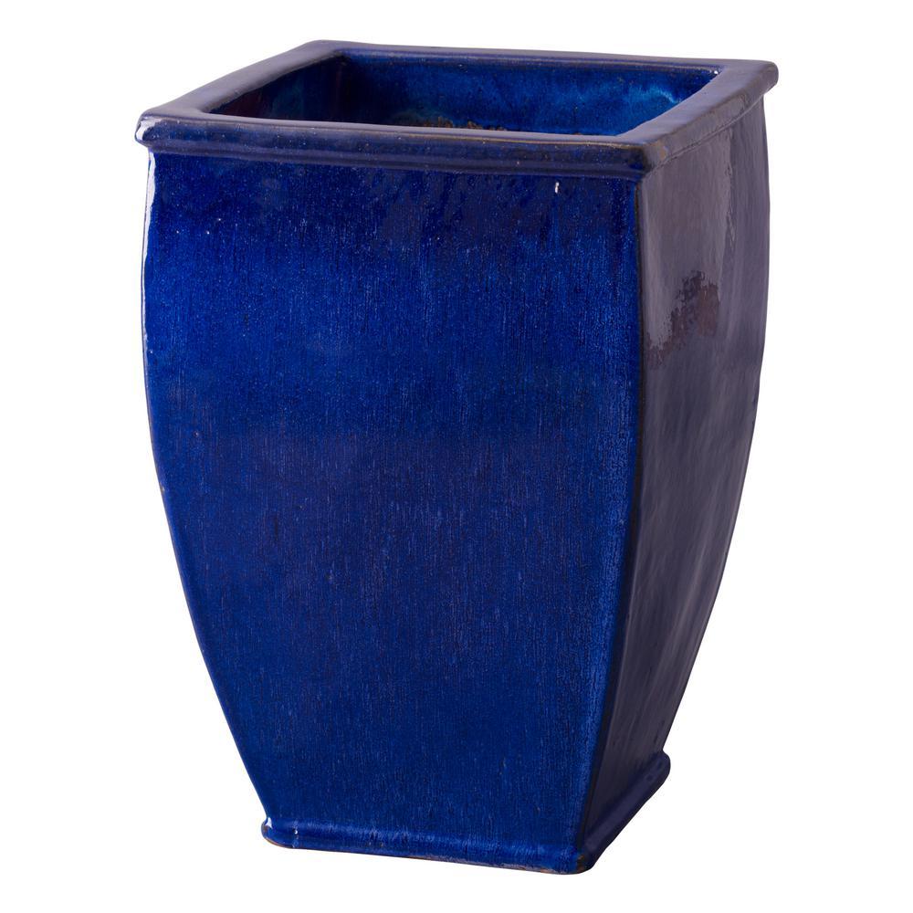 27 in. H Square Blue Ceramic Rimmed Planter