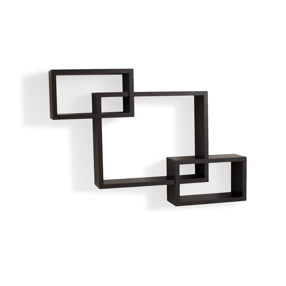 26.5 in. x 19 in. Walnut Grain Veneer Intersecting Squares Floating Shelf