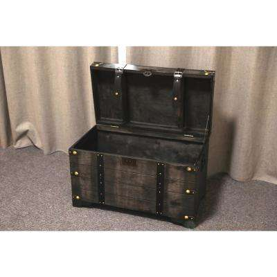 Distressed Black Large Wooden Storage Trunk Coffee Table