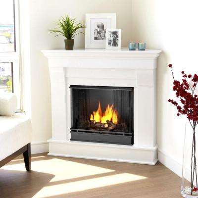 Chateau 41 in. Corner Ventless Gel Fuel Fireplace in White