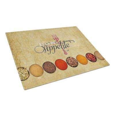Bon Appetite and Spices Tempered Glass Large Cutting Board