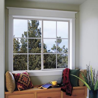 35.5 in. x 35.5 in. V-2500 Series White Vinyl Right-Handed Sliding Window with Colonial Grids/Grilles