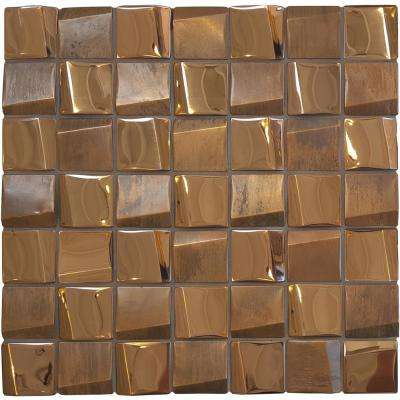 Facade Coil Copper 12 in. x 12 in. x 9.53mm Stainless Steel Mosaic Tile (10 sq. ft. / case)