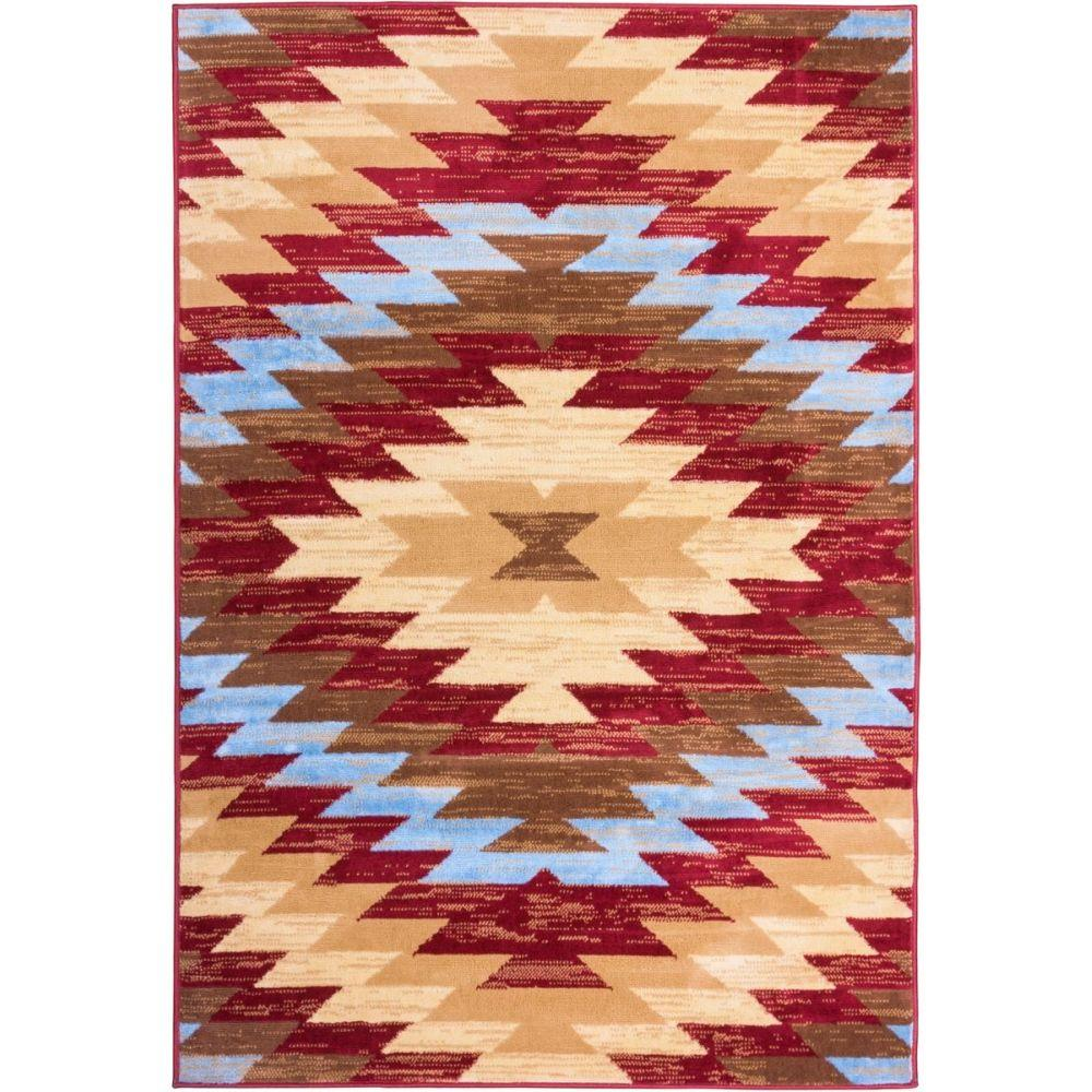 Southwestern Large Area Rug: Well Woven Miami Alamo Southwestern Traditional Red 8 Ft