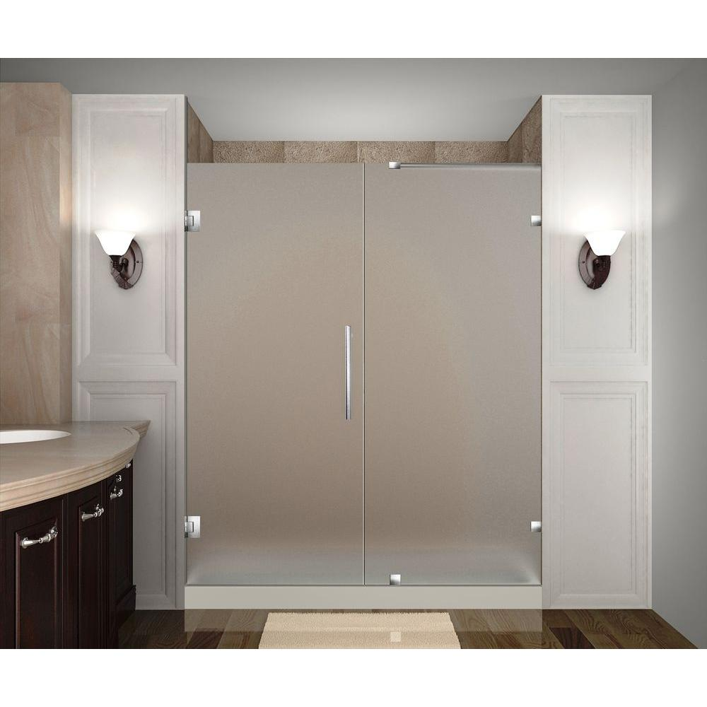 Aston nautis 70 in x 72 in completely frameless hinged for Home depot frosted glass door