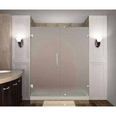 Nautis 72 in. x 72 in. Completely Frameless Hinged Shower Door with Frosted Glass in Stainless Steel