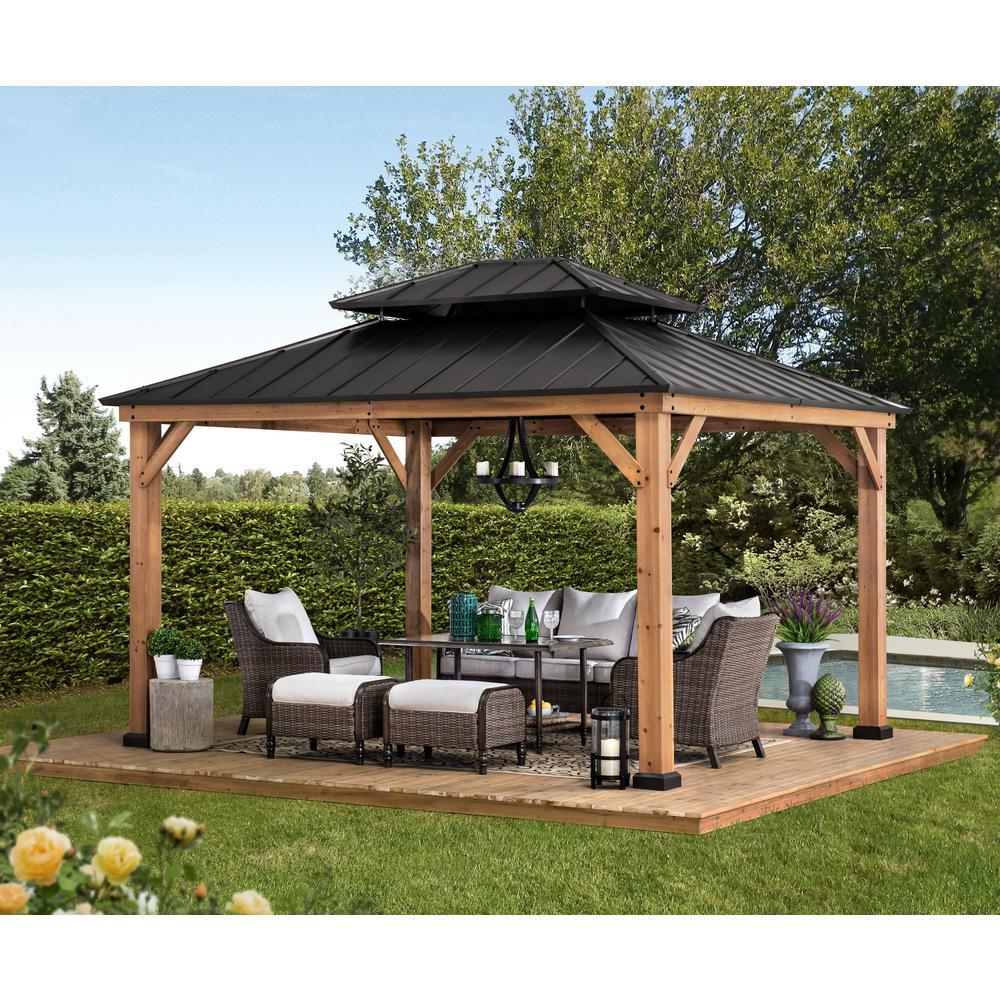 Sunjoy Archwood 12 Ft X 10 Ft Cedar Frame Gazebo With Double Tier Steel Roof Hardtop A102007500 The Home Depot