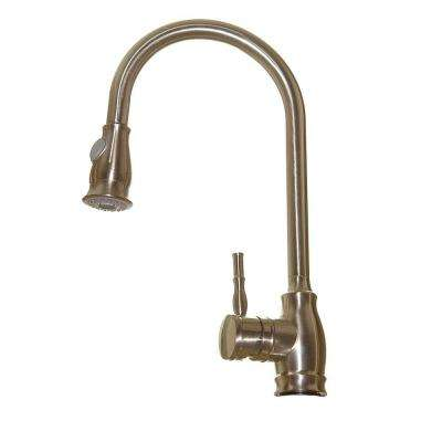 Euro Modern Contemporary Single-Handle Pull-Down Sprayer Kitchen Faucet in Lead Free Brushed Nickel