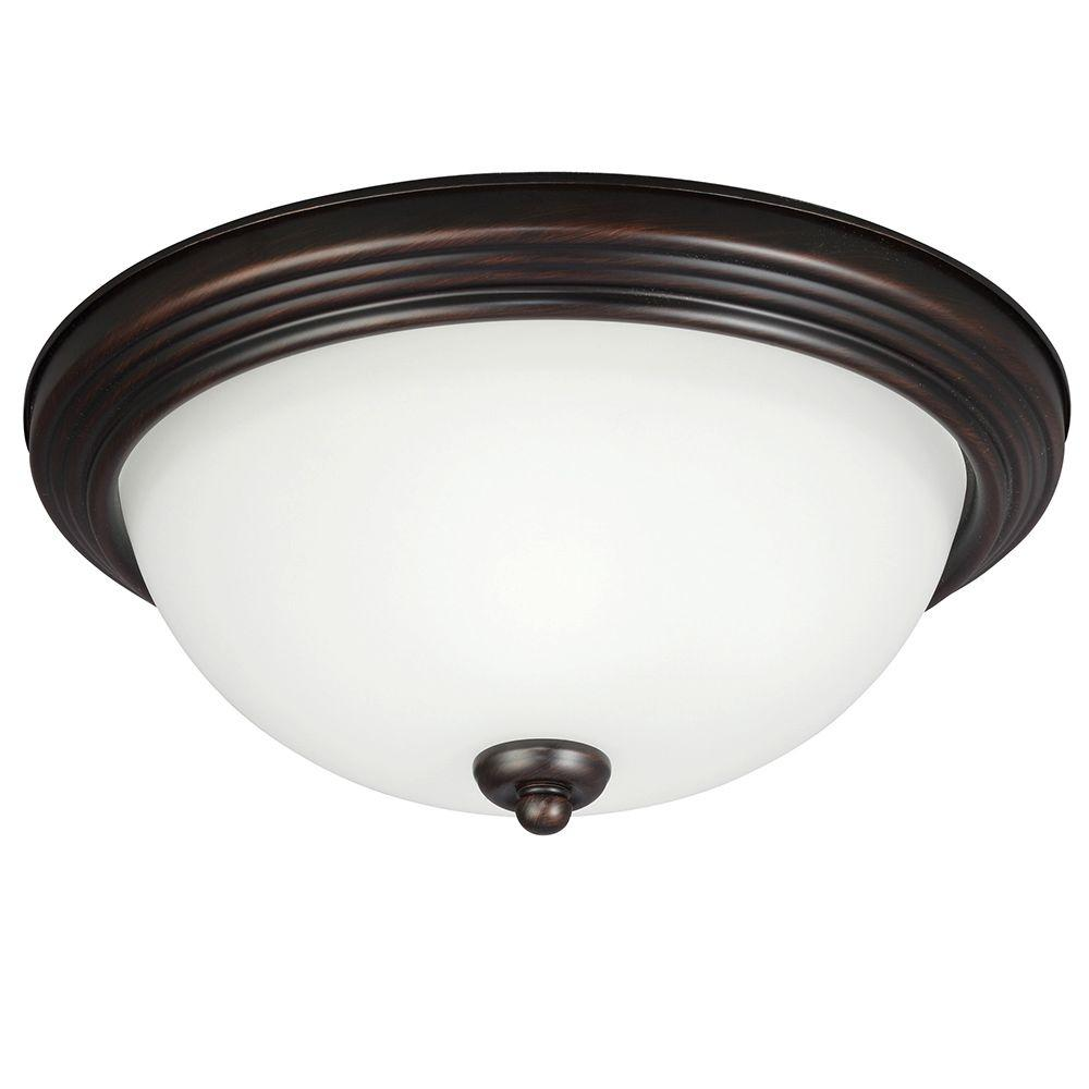 1-Light Burnt Sienna Ceiling Flushmount with Amber Scavo Glass