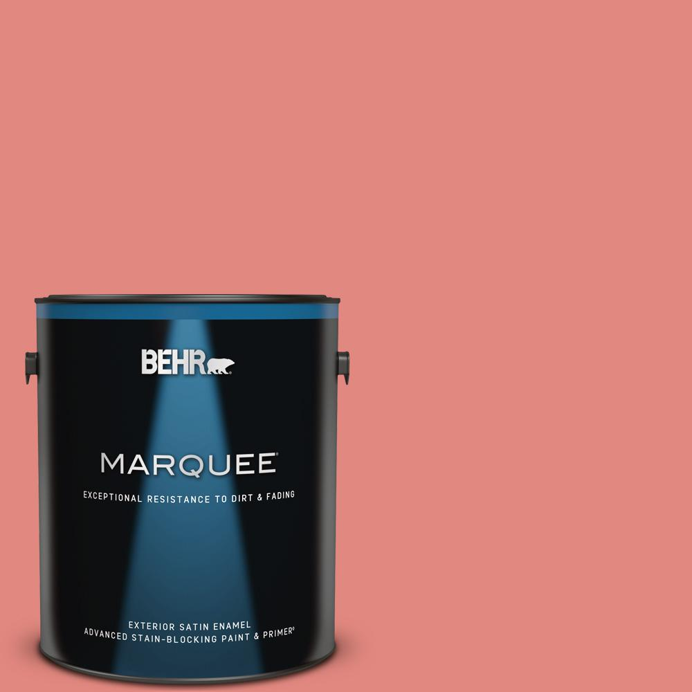 Behr Marquee 1 Gal Ppu1 04a Watermelon Punch Satin Enamel Exterior Paint And Primer In One 945301 The Home Depot