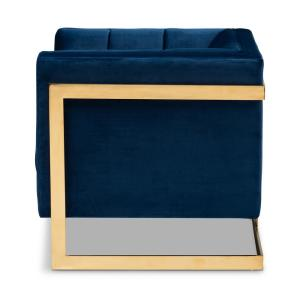 Astounding Baxton Studio Ambra Royal Blue And Gold Fabric Armchair 156 Pdpeps Interior Chair Design Pdpepsorg