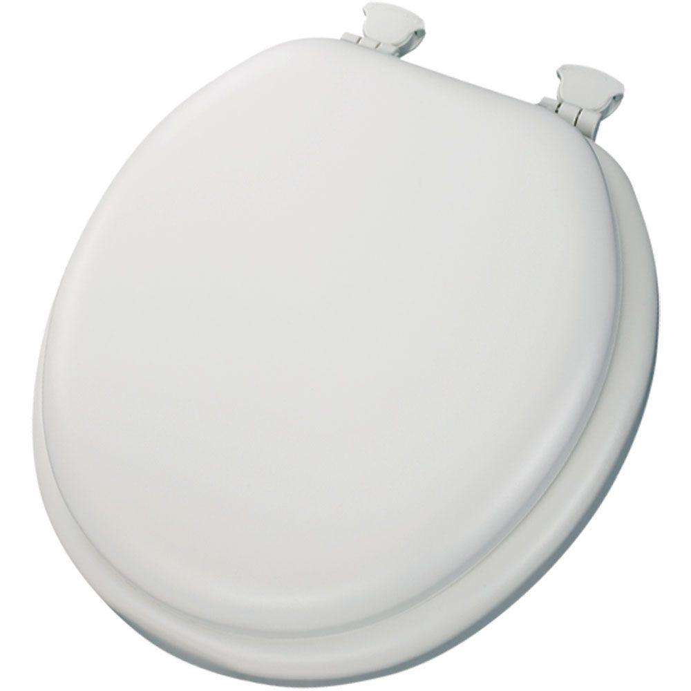 Soft Round Closed Front Toilet Seat in White