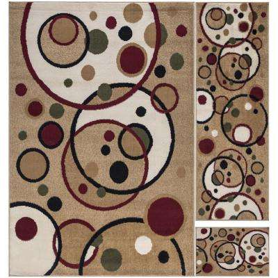 Paterson Collection Contemporary Balloon Design Beige 5 ft. x 7 ft. 3-Piece Rug Set