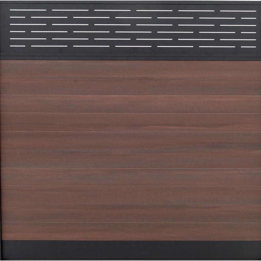 Euro Style 6 ft. H x 6 ft. W Lattice Top Black Rose Aluminum/Composite Horizontal Fence Section