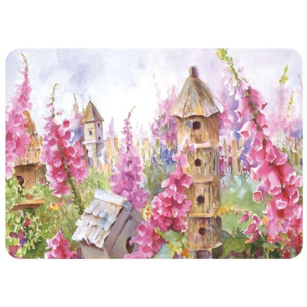 Foxgloves and Birdhouse 22 in. x 31 in. Polyester Premium Comfort Mat