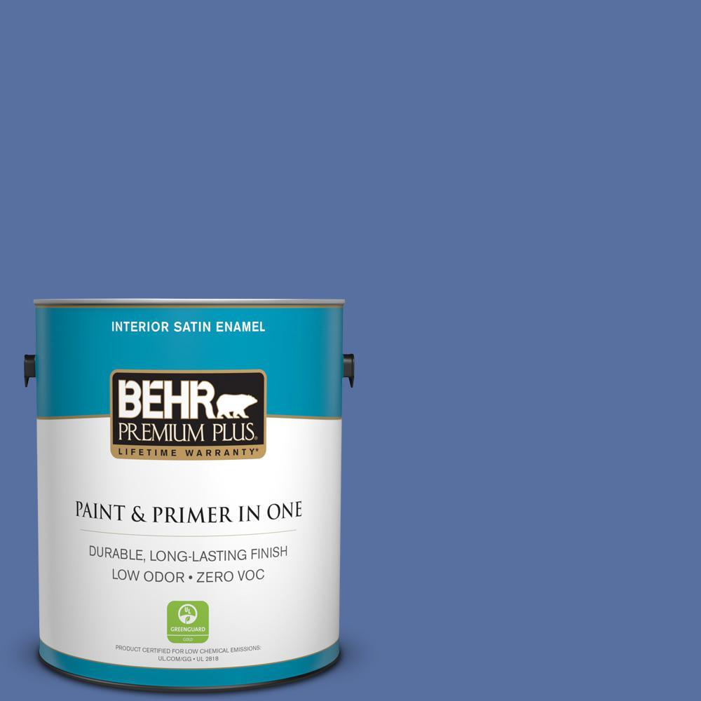 BEHR Premium Plus 1-gal. #PMD-23 Cobalt Flame Zero VOC Satin Enamel Interior Paint