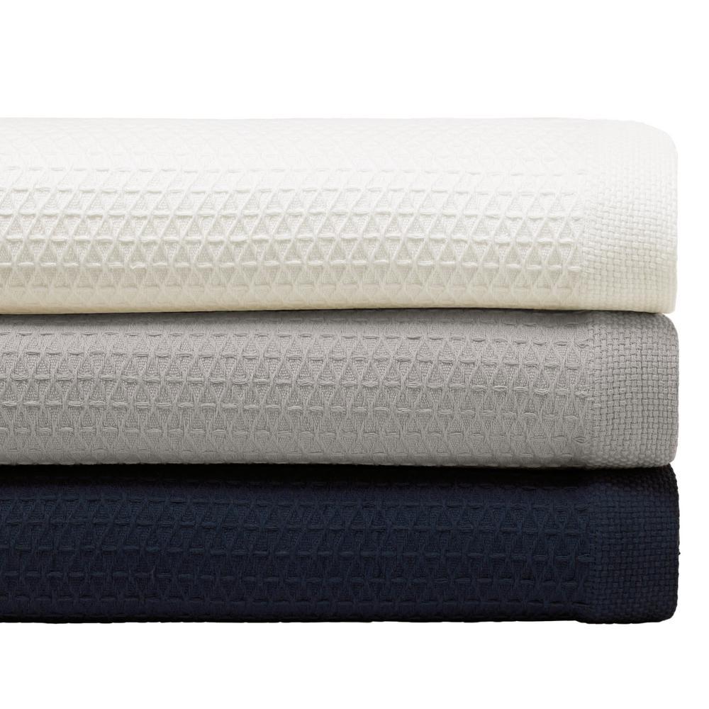 Baird Navy Cotton Twin Blanket
