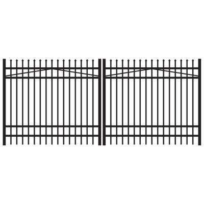 Washington 12 ft. W x 6 ft. H Black Aluminum 4-Rail Double Drive Fence Gate