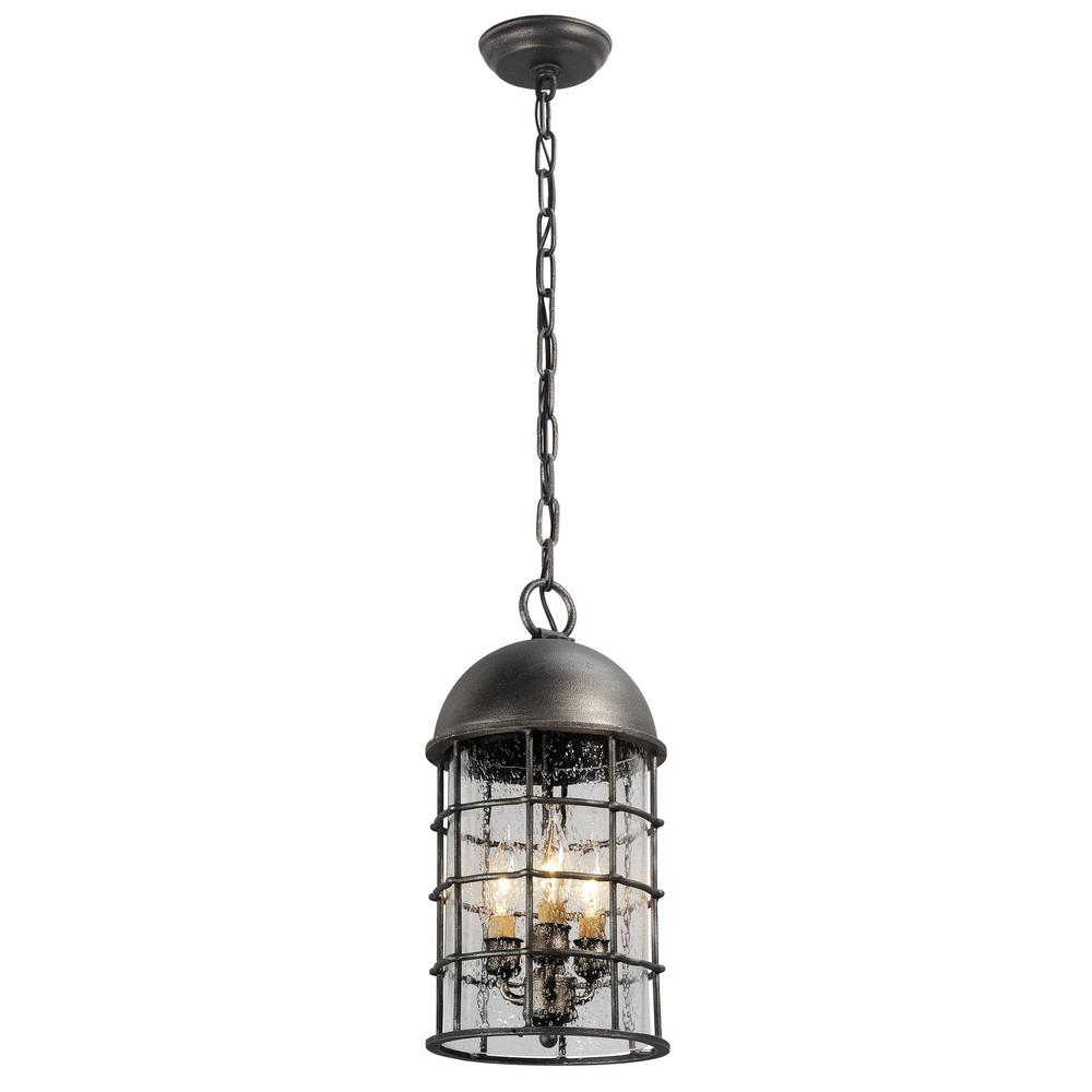 Troy Charlemagne 3-Light Aged Pewter Outdoor Pendant