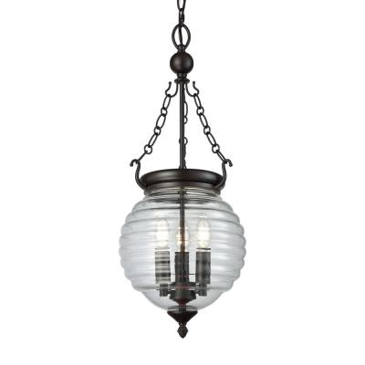 Crosswell 3-Light Oil Rubbed Bronze Chandelier with Clear Beehive Glass Shade