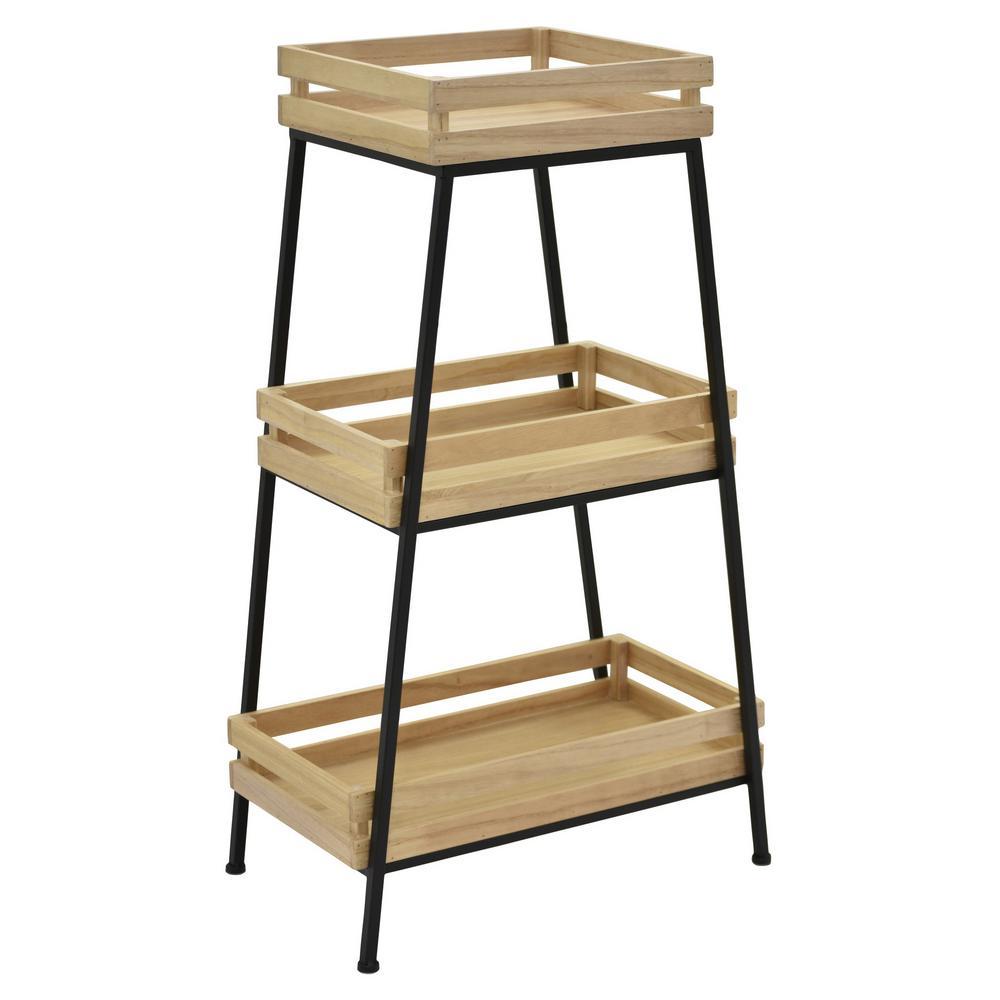 34.25 in. Wood/Metal Storage Rack in Brown