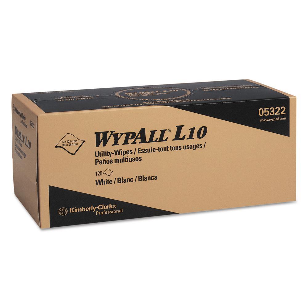 12 x 10 1/4 L10 Utility Wipes, POP-UP Box, 1Ply, White, 125 Per Box, 18 Boxes Per Carton
