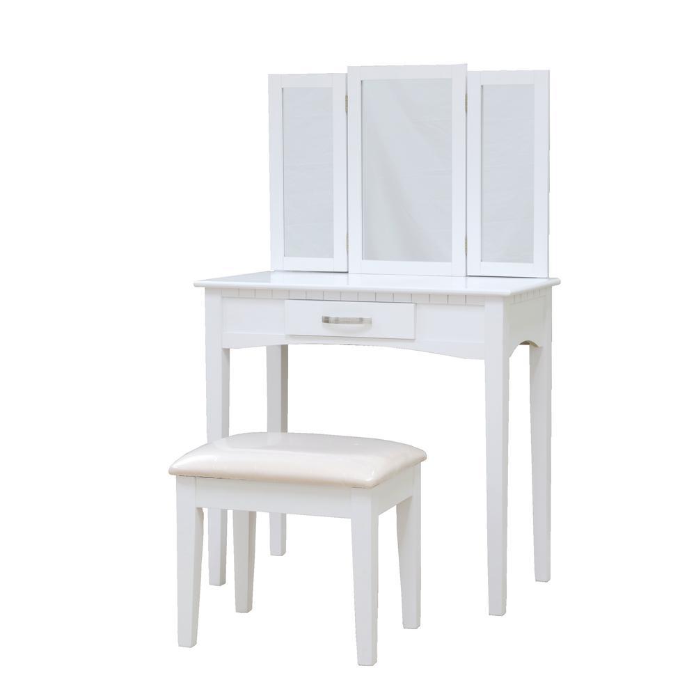 Homecraft Furniture 3-Piece White Vanity Set