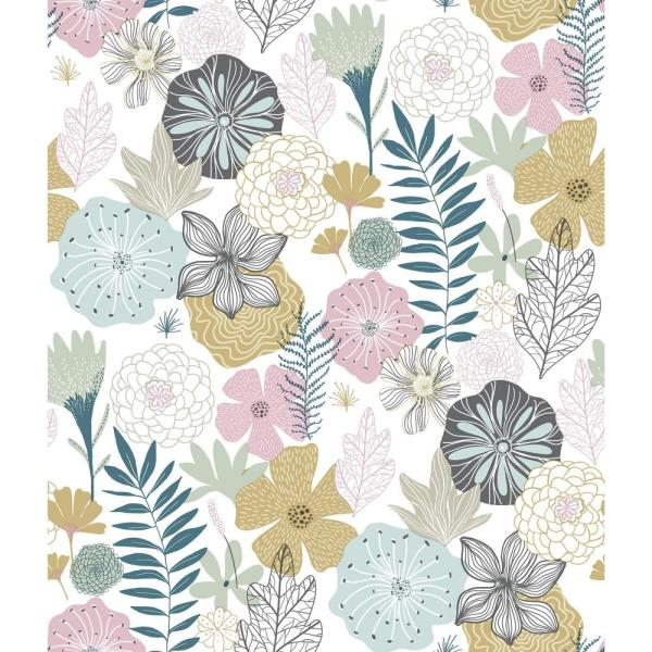 RoomMates 28.18 sq. ft. Perennial Blooms Peel and Stick Wallpaper RMK11328WP