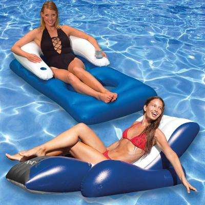 Floating Recliner and Classic Swimming Pool Lounger Combo (2-Pack)