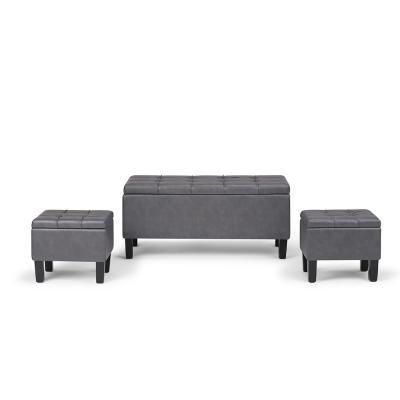 Dover 44 in. Contemporary Storage Ottoman in Stone Grey Faux Leather