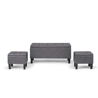 Dover Stone Grey 3 Piece Storage Ottoman Bench