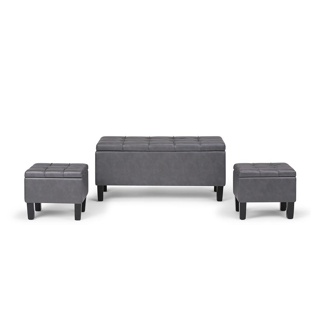 Simpli Home Dover 44 in. Contemporary Storage Ottoman in Stone Grey