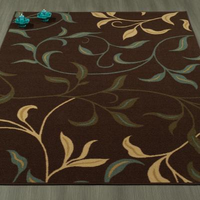 Ottohome Collection Contemporary Leaves Design Chocolate 8 ft. x 10 ft. Area Rug