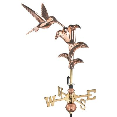 Hummingbird Cottage Weathervane - Pure Copper with Roof Mount