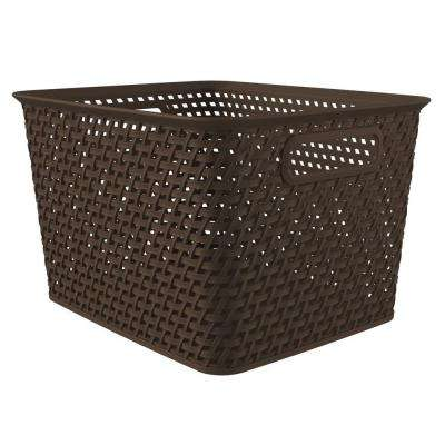 Style 14 in. x 11.6 in. Espresso Plastic Weave Storage Basket