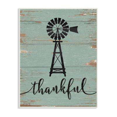 "12.5 in. x 18.5 in. ""Thankful Vintage Windmill"" by Jo Moulton Printed Wood Wall Art"