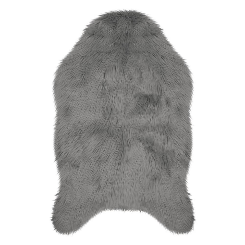 Jean Pierre Faux-Fur Dark Grey 2 Ft. X 3 Ft. Area Rug