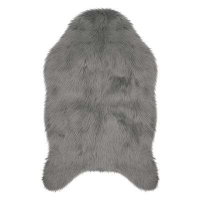 Faux-Fur Dark Grey 2 ft. x 3 ft. Area Rug