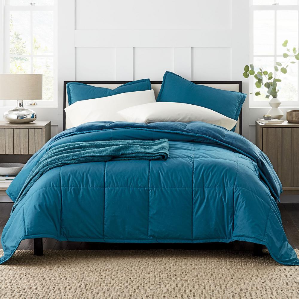 Montana Down Alternative 3-Piece Teal Blue Solid Cotton King Comforter Set