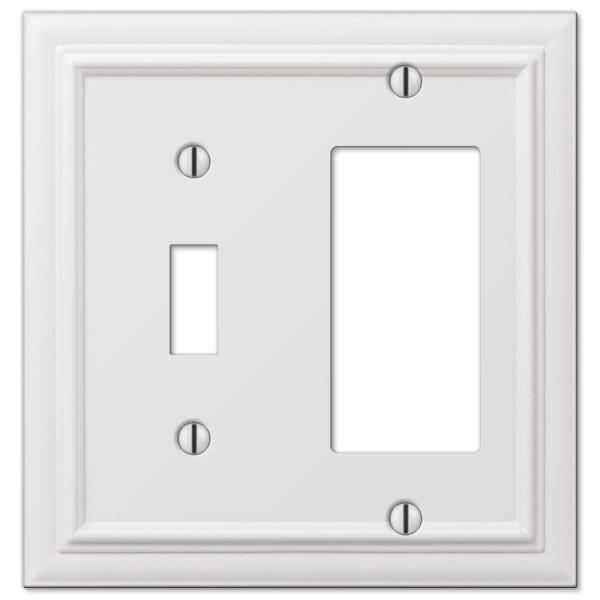 Continental 2 Gang 1-Toggle and 1-Rocker Metal Wall Plate - White