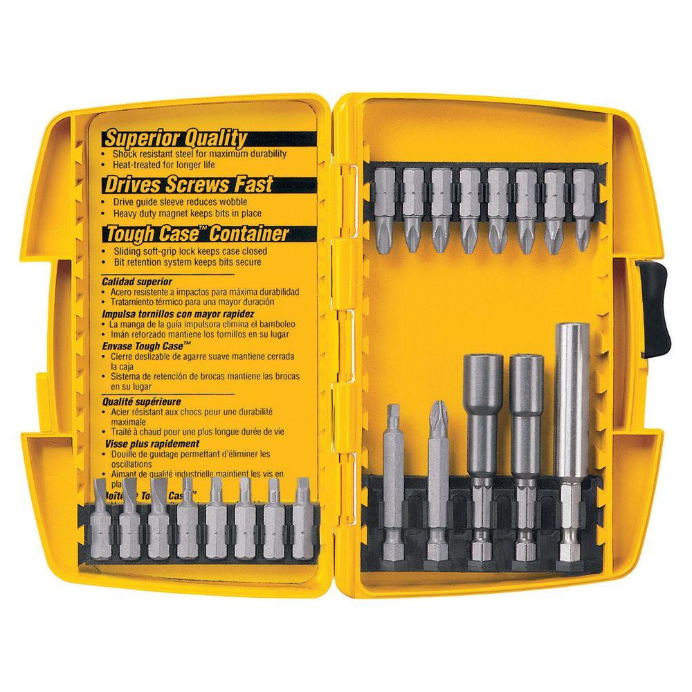 dewalt screwdriver set 21 piece tough case dw2161 the home depot. Black Bedroom Furniture Sets. Home Design Ideas