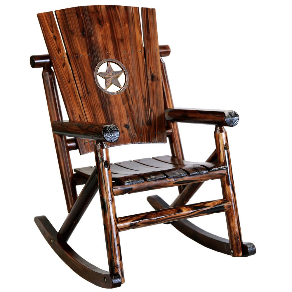 Beau Leigh Country Char Log Wood Patio Rocking Chair With Star Medallion