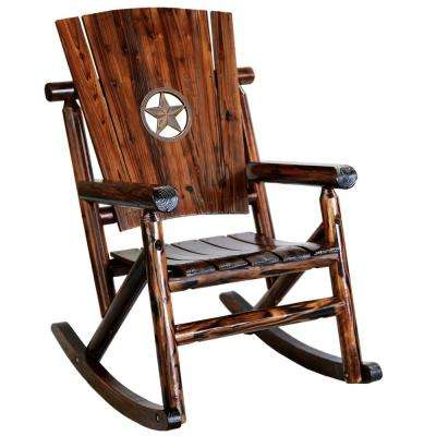 Char Log Wood Patio Rocking Chair With Star Medallion