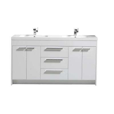 Lugano 60 in. W x 19 in. D x 34 in. H Vanity in White with Acrylic Top in White with White Basin