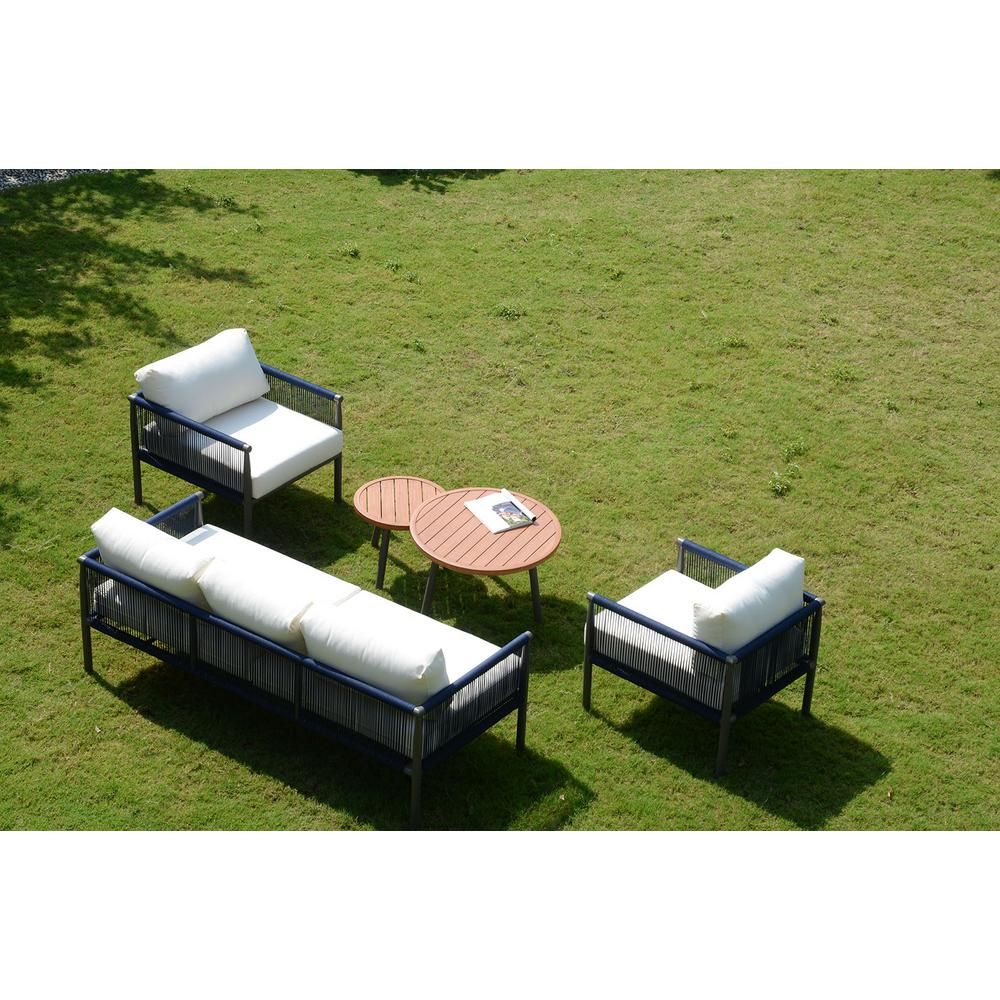 DIRECT WICKER Michelle 5-Piece Aluminum Outdoor Sofa Set with White Cushions